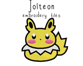 Pokemon Jolteon EMBROIDERY MACHINE FILES pattern design hus jef pes dst all formats Instant Download digital applique kawaii cute