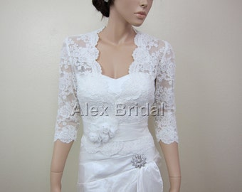 Ivory Lace jacket Bridal Bolero Wedding jacket wedding bolero 3/4 sleeve alencon lace
