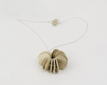 Ceramic necklace (beige beads). Unique handmade piece. Contemporary ceramics. Jewellery.