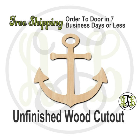 Anchor 1 - 50009- Cutout, unfinished, wood cutout, wood craft, laser cut shape, wood cut out, Door Hanger, wooden, ready to paint