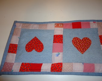 Scrappy Hearts Denim and Cotton Quilted Table Runner, Free Shipping!