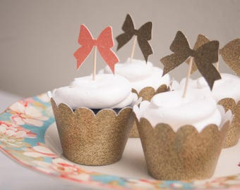 Bow cupcake toppers, gold glitter, coral glitter - Set of 12. Bow themed party, baby shpwer, bridal shower. Bow birthday.