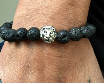 Lava Stone Silver Lion Bracelet