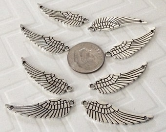 8 Silver detailed Angel Wing pendants, 2 sided WINGS, 2 hole wing necklaces, wing charms, faith jewelry