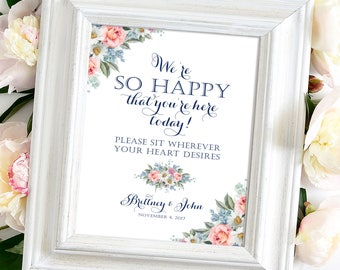 We're So Happy | Sit Wherever Sign | Various Sizes | Add Your Names | Vintage | Navy Blue | Peach Roses | I Create and You Print