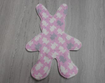 Pink flat white minky and flannel Bunny bottom Bunny Plushie