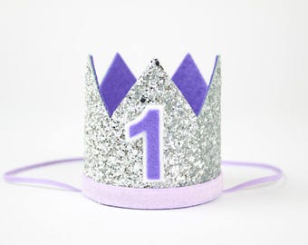 First Birthday Crown | 1st Birthday Cake Smash Photo Prop | Birthday Hat | Glitter Party Hat | Silver + Purple 1