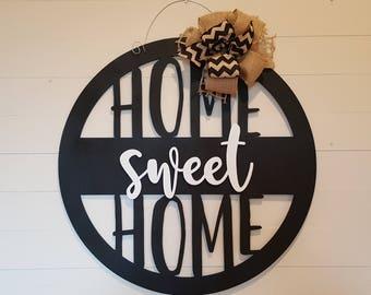 Home Sweet Home Wall Hanging - Door Hanger - Wreath - Housewarming Gift - Dorm Room - Wedding Gift - Birthday Gift