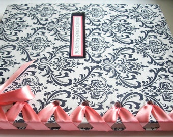 Baby Shower Album - Newborn Baby Photo Album - Children's Book - Navy, Coral & White - (Custom Colors Available)