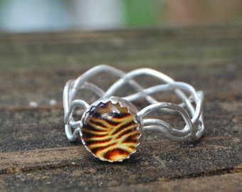 Amber Set Silver Vine Woven Band, silver solitaire ring