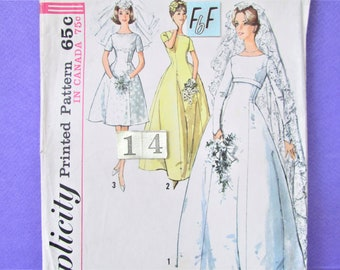 1960's Empire Waist Wedding Dress Sewing Pattern/ Simplicity 5496 Mid Century fit and flared full skirt wedding gown/ Size 14 16