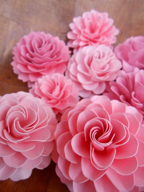 Paper Cake Flowers, Decorations. CHOOSE YOUR COLORS. Set of 10. Weddings, Showers, Paper Flowers, Decoration