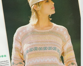 Fair Isle Knitted Top With Three Quarter Sleeves .Knitting Pattern PDF File (D22)
