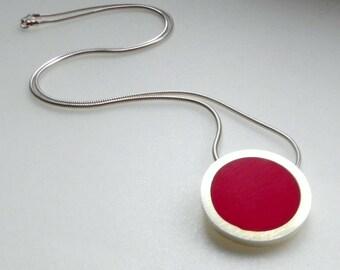 Simple Round Pendant - Round Red  Resin Pendant - Colour Pop - Circle Pendant - Red jewellery - Pop Pendant