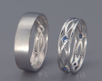 14K White Gold Eternity Wedding Rings set with Sapphire | Handmade white gold eternity wedding Rings | His and Hers Wedding Bands Set