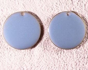 4 sequins enamelled brass round blue 20mm