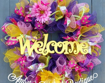 "New Handmade Large Welcome Bright Multicolored Yellow Pink Purple Floral Daisy Spring Summer Ruffle Deco Mesh Wreath 27"" Free Shipping!"