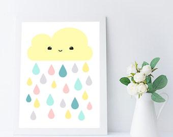 fille de crèche art print - nuage décor - art mural bébé imprimable - fille chambre décor - cadeau enfant imprimable - kid salle art mural - A4 - 8 x 10 po