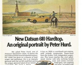 1973 Datsun Advertisement Peter Hurd Original Portrait 610 Hardtop Yellow 70s 73 Artist Cowboy Horse Driver Owner Repair Shop Wall Art Decor