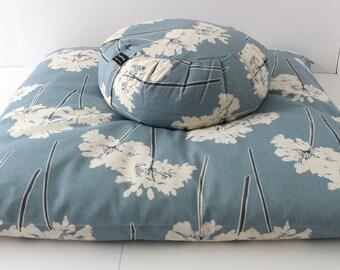 Meditation Cushion Set - Blue Dandelion Zabuton & Buckwheat Zafu