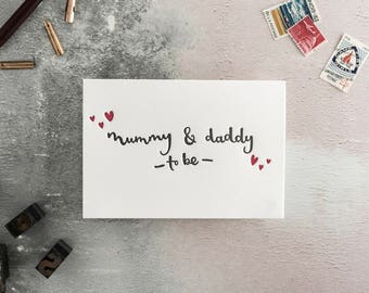 Mummy and Daddy To Be Letterpress New Baby/ Expecting Card
