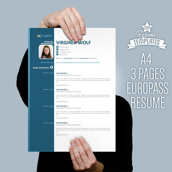 Curriculum vitae template europass modern cv design 3 page like this item yelopaper Gallery