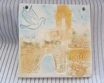 Jerusalem Tower of David Israel Dove Ceramic Tile Gift for New Home Hand Painted Made in Israel Home Decor