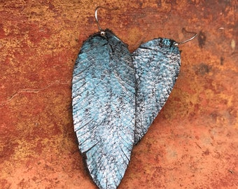 Turquoise & Silver Feather Leather Earrings
