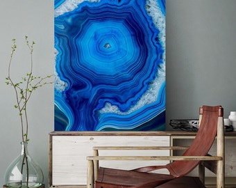 Mineral Photography - (Print # 075) Bright Blue Agate  -Fine Art Print - Two Paper Choices- Mineral Geode Agate Crystal Decor