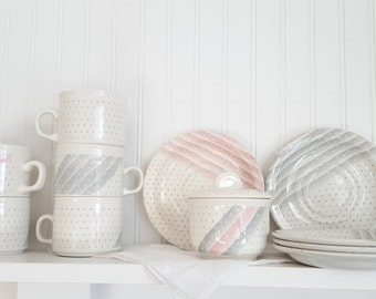 Grey and Pink Polka Dot Dishes, Churchill, England, 5 Sets of Cup and Saucer and One Sugar Bowl With Lid