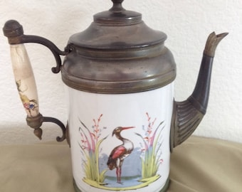 Antique PewterAND Enamel Graniteware TEAPOT COFFEE POT Heron Bird