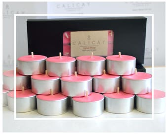 Hand Poured Soy Beeswax Tealight Candles (Tealights) - Velvet Rose