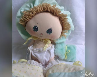 Vintage Baby Doll, Collectible Doll, Doll With Diaper, Fabric Doll