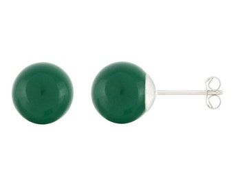 925 Sterling Silver Natural 6mm Round / Ball Green Onyx Gemstones Stud Earrings
