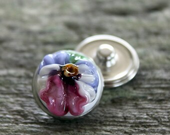 Floral Fantasy Snap Button Pansy White Blue Pink