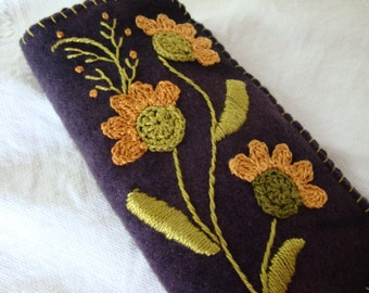 apricot flower on eggplant eyeglass case