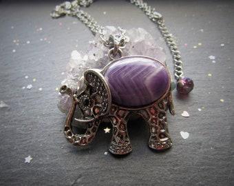 Amethyst Elephant Necklace, Boho Necklace, Elephant Necklace, Amethyst Elephant, Elephant Pendant, Elephant Jewelry, Gemstone Elephant