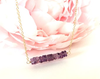 Amethyst Gold Chain Necklace -Gold Amethyst Necklace Gift- Gold Filled Amethyst Necklace -Amethyst Crystal Bar Necklace- Amethyst Necklace
