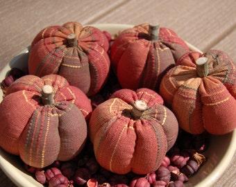Primitive Fall Halloween Multicolor Homespun Pumpkin Ornies, Bowl Fillers