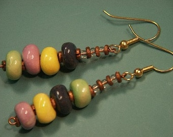 Unique one-of-a-kind earhangings with handmade multicolor clay beads
