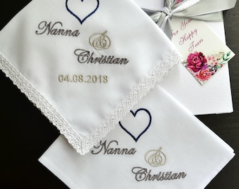 Wedding Handkerchief set gifts for parents gift for Mother and Father of the bride from daughter Mom Dad Personalized hankie Save the date