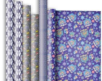 Jillson & Roberts Premium Gift Wrap Roll Assortment, Hanukkah Designs (6 Rolls)