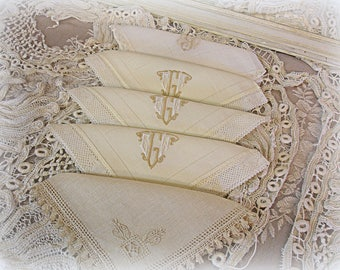 5 assorted vintage linen napkins 4 are monogrammed matching set of 3 + 2 orphans E W G embroidered monograms handmade lace edging