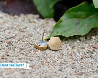 Brass Stud Earrings | Hexagon Earrings | Jewellery | Hypoallergenic Studs | Minimalist Earrings | Titanium Earrings | Gold Earrings | Gift