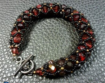 Bracelet for a Queen! Netted  Weaved Black + Copper Glass & Dark Red Fire Polished Crystal + Black Metal