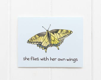 Butterfly Card / Oregon Card / Greeting Card / Oregon State Motto / Gifts for Her / Pacific Northwest Card / Oregon / Cascadia Card