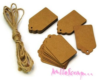Set of 10 tags scrapbooking card making embellishment kraft paper *.