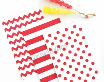 RED Favor Bags | Red Polka Dot Favor Bags | Red Chevron Favor Bags | Red Stripe Favor Bags | Treat Bags | Candy Bags | Wedding Favor Bags