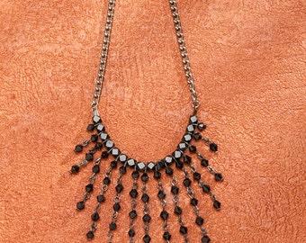 Black Beaded Necklace with Aluminium.