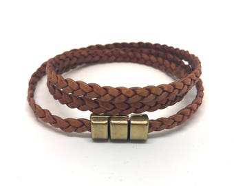 Leather Braided Wrap Bracelet Cognac 5 mm wide with magnetic clasp
